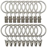 18 Pack Rings Curtain Clips Strong Metal Decorative Drapery Window Curtain Ring with Clip Rustproof Vintage Mist Silver Color
