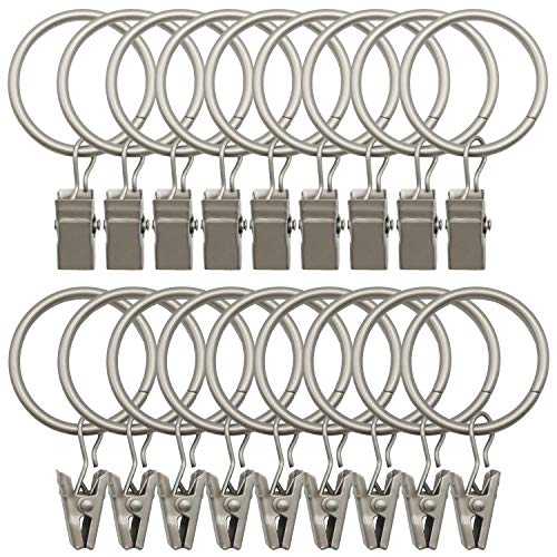 Strong Metal Decorative Drapery Window Curtain Ring with Clip Black JIOCLIP Curtain Rings with Clips 1.41 Interior Diameter Set of 40