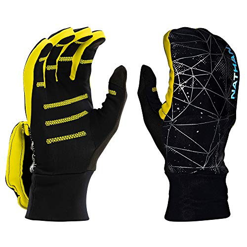 Nathan Convertible Glove/Mitt Reflective. for Running and Outdoor Sports. Glove to Mitten. Warm Lightweight Stretch Material. Touch Screen Finger for Smartphone Use. Men and Women.