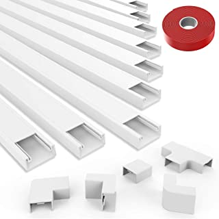 [2019 Upgraded] Cable Concealer Cord Cover - 10 White Cable Management Channels - On Wall Wire Hider to Organize Cables for Wall Mount TV, Computers, Home - 10 X L15in, W0.98in, H0.59in - Medium