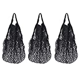 3 Pack Reusable Cotton Mesh String Bags with Handles Net Bags Grocery Shopping Tote Bags Organic Organizer Shopping Handbags for Shopper Produce Storage Beach Toys Fruit Vegetable B