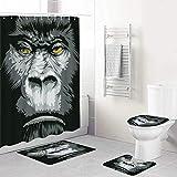 LONSANT Duschvorhang Set,Schließen Sie Oben Gorilla-Porträt mit Orange Eyes Zoo Jungle Animal Wild Money Grafik,Teppichen Toilettendeckel & Badematte Wasserdichter Duschvorhang für mit 12 Haken