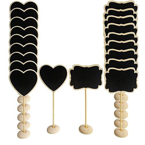 20 x Mini Pizarras Madera con Soporte para Señales de Tablero Signos de Mensajes Boda Decoración Fiesta Etiquetas Restaurante Cocina (10 Forma de corazón + 10 Forma de Encaje)