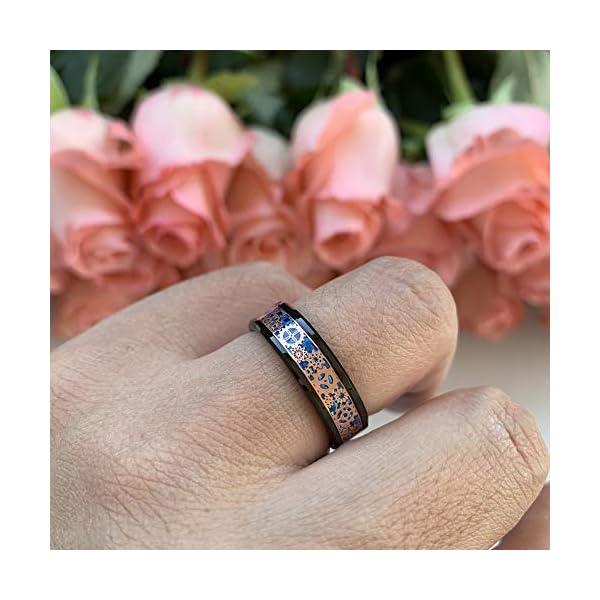 iTungsten 6mm 8mm Silver/Black Tungsten Rings for Men Women Steampunk Gear Wheel Blue/Purple Carbon Fiber Inlay Beveled… 5