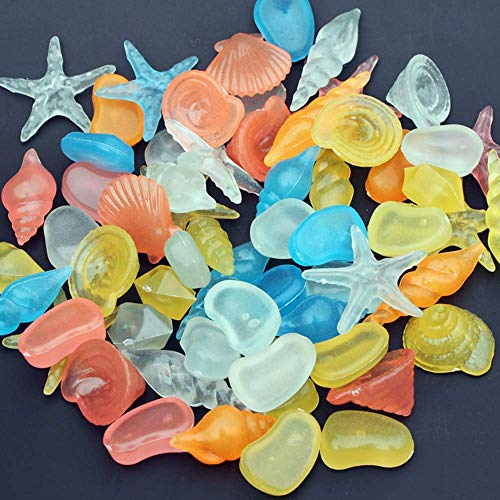 Desshok 100 Stück Muscheln Seestern Dekosteine Leuchtstein Aquarium Garten Aquarium Aquarium Leuchtsteine Leuchtsteine Fluoreszierende Kunststeine Geeignet für viele Anlässe