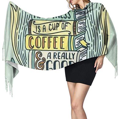 H.D. Kaffee Und Buch Clipart Print Cashmere Schal Womens Casual Warmen Schal Wrap Schal Groß