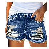 NIDOV Denim Shorts for Women Plus Size Distressed Ripped Cut Off Jean Shorts Blue Medium