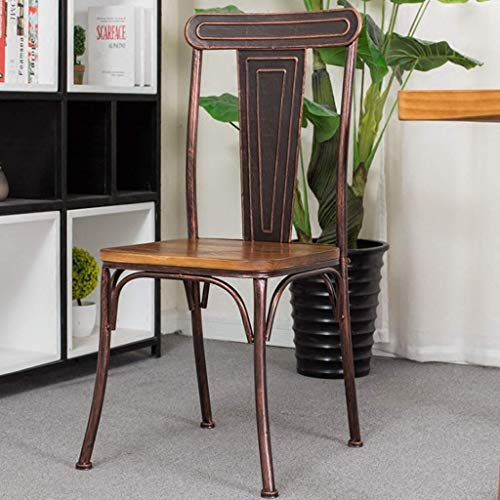 JHSHENGSHI Barhocker/Ergonomic Office Desk Stuhl/Barhocker Esszimmerstuhl aus massivem Holz Einfacher Vintage-Eisenstuhl für Zuhause Restaurant mit amerikanischer Rückenlehne Esszimmerstuhl