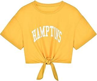 Mlide Women's Letter Print Strap Wild Short Sleeve T-Shirt Casual Bandage Top Blouse Crop Tops Shirt