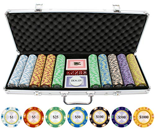 JP Commerce 500 Piece Monte Carlo Clay Poker Chips Set