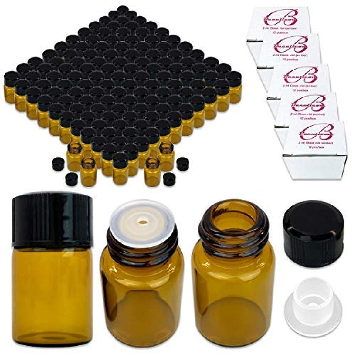 拮抗するクレデンシャル式180 Packs Beauticom 2ML Amber Glass Vial for Essential Oils, Aromatherapy, Fragrance, Serums, Spritzes, with Orifice Reducer and Dropper Top [並行輸入品]