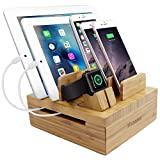 iCozzier Bambus 5-Slot Ladestation Tablet und Kabel Organizer Ständer Dock für Apple Watch,...