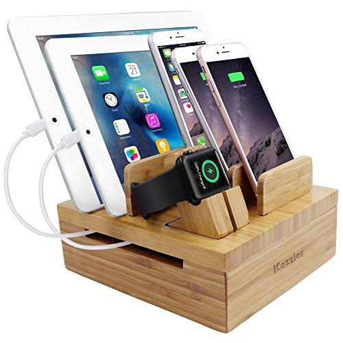 iCozzier Bambù 5-slot USB Watch Supporto Multi-dispositivo Di Stazione Di Ricarica e Organizzatore Di Cavo Del Basamento Sul Banco per Apple Watch, iPhone, iPad, Smartphones, Tablets