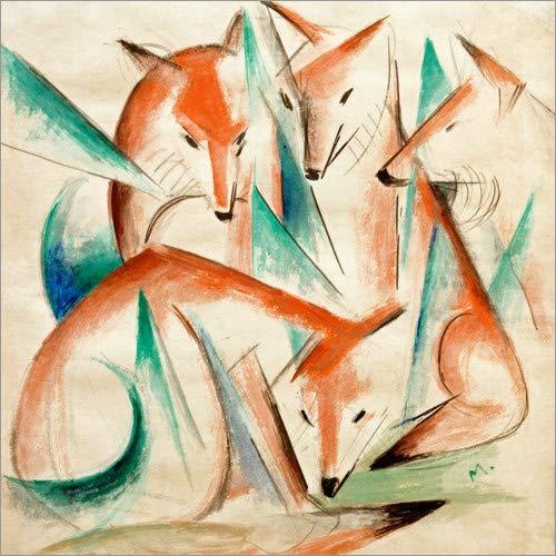 Posterlounge Leinwandbild 40 x 40 cm: Vier Füchse von Franz Marc - fertiges Wandbild, Bild auf Keilrahmen, Fertigbild auf echter Leinwand, Leinwanddruck