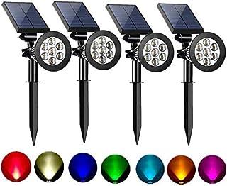 أضواء موضعية شمسية في الهواء الطلق ملونة قابلة للتعديل 7 LED أضواء أضواء شجرة أمان لممرات الحديقة تغيير أضواء ملونة ثابتة ...