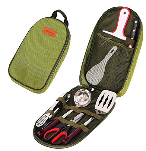 7 ensembles de cuisinière de camp avec sac de rangement étanche, pelle, cuillère à riz, planche à découper, ciseaux, couteau de cuisine, pinces, cuillère à soupe, adaptés pour pique-nique barbecue