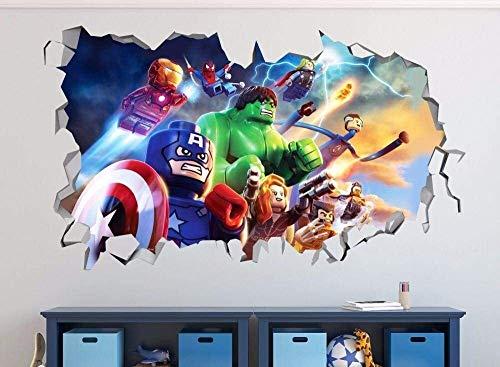 WJFQ 3D Pegatinas Pared Pegatina de Pared 3D Murales Los Vengadores Dibujos Animados Calcomanías Super Héroe Pared Decorativo Papel Pintado 50x70cm Decoración de la Pared de la Sala de niños