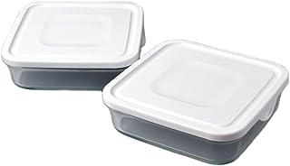 iwaki イワキ 耐熱ガラス パック&レンジ BOX 大 2個セット ホワイト 1.2L 重ねパック SKC3248-W 2個セット