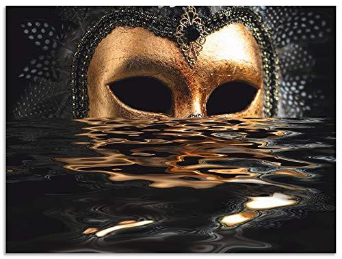 Artland Wandbild Alu für Innen & Outdoor Metall Bild 60x45 cm Feiertage & Feste Karneval Fotografie Gold Venezianische Maske mit Blattgold T6AN