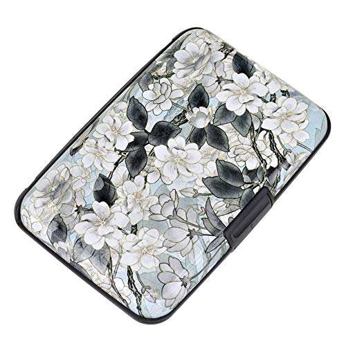 Elfish Mini RFID Aluminum Wallet Credit Cards Holder Business Card Case Metal ID Case for Men Women (Lotus)