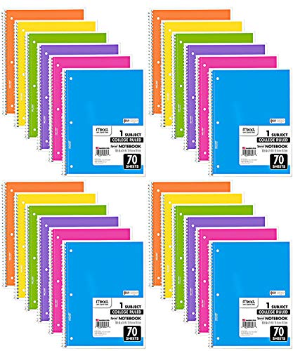 Mead Spiral Notebook, 24 Pack of 1-Subject College Ruled...