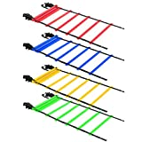 4 Pack 20ft Agility Ladder (Blue、Yellow、Green and Red) – Speed Agility Training Ladder with Four Carry Bags