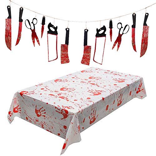 Wishstar Blutige Tischdecke Halloween Deko Horror Deko Set Grusel Deko einschließlich Blutige Waffen Messer Garland und Blutige Tischdecke 260 x 130 cm für Outdoor/Indoor Halloween Party (13 Stück)
