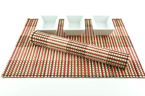 Lot de 4 sets de table faits à la main en bambou épais - Tapis de table écologique - Rose/crème - CP0002