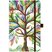 """2020 Planner - Weekly & Monthly Planner with Tabs, 5.25"""" x 8.25"""", Hardcover with Pen Holder + Thick Paper, Back Pocket with Gift Box - Watercolor Tree"""