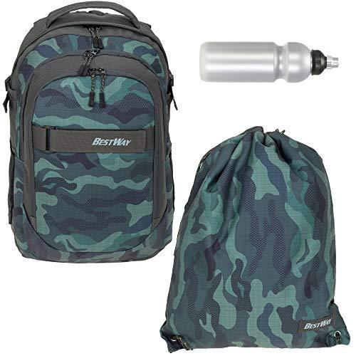 Schulrucksack 3 Teile Set Bestway Evolution Packer Jungen Mädchen Rucksack mit Sportbeutel und Trinkflasche (Camo 2613)