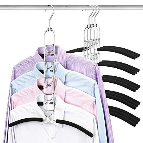 4 perchas de metal, 5 en 1, perchas antideslizantes, multicapa, espuma EVA, multiusos, ahorro de espacio para chaquetas, camisetas, abrigos, suéteres, color negro