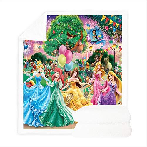 Fgolphd Disney Princess Decke, Anime fleecedecke Decken Für Sofa,ultraweich Und Warm 3D-Druck, Super weich, geeignet für Kinder & deren Familien (150 x 200 cm,4)