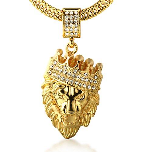 HALUKAKAH  Kings Landing  Uomini Placcato Oro Reale 18k Leone Corona Pendente Collana Set di Diamanti Artificiali con Catena a Coda di Pesce Gratuita 75cm