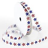 Morex Ribbon Betsy Ross Printed Satin Ribbon Spool, 3/8-Inch by 100-Yard, Red/White/Blue