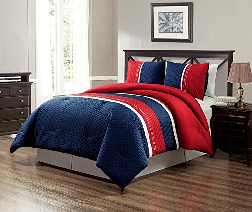 GrandLinen 3 Piece Navy Blue/Red / White Texas Lone Star Embroidery Western Bed in A Bag Down Alternative Comforter Set (Double) Full Size Bedding. Perfect for Any Bed Room or Guest Room