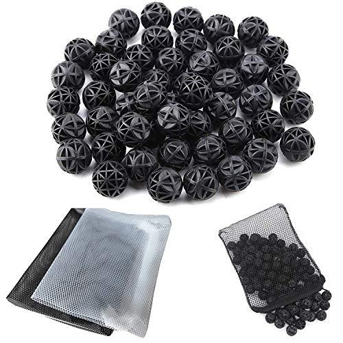 CESFONJER 90 Stücke Bio Filterbälle Filtermedium BalanceBalls Bio Poröse Filter Biochemische Ball |Durchmesser von 18 mm, reduziert Anzahl Wasserwechsel, 2 Stücke Aquarium Filtertüten 15x20CM