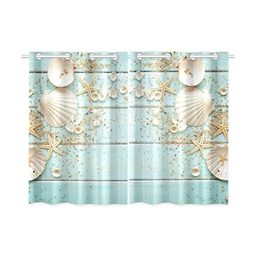 INTERESTPRINT Beach Theme Home & Kitchen Decor, Seashell Starfish Window Treatment Panel Curtains,Set of 2,Total 52'x 39'