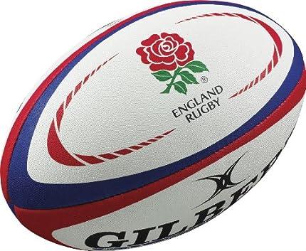 Gilbert England - Pelota de Deporte y Rugby para Hombre, tamaño 4, Color Rojo/Blanco