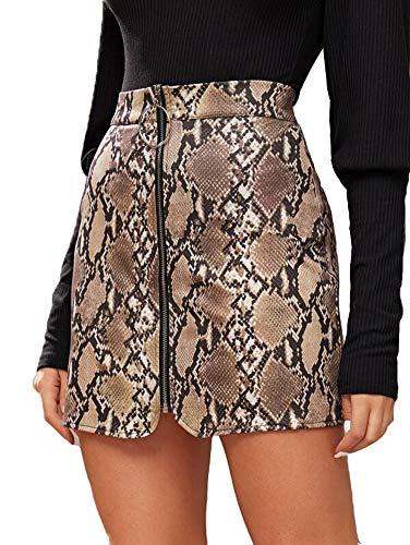 Frauen Röcke Zip Front Bodycon Minirock Damen ausgestattet Leder Kurze Bleistiftröcke (M, Braun)