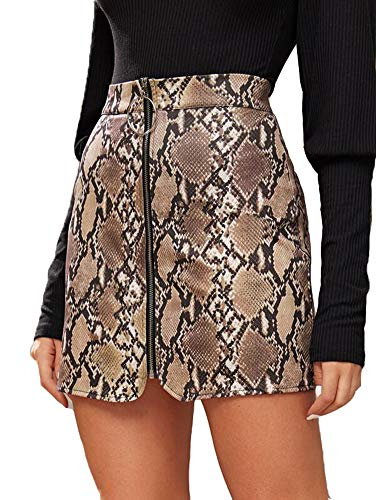 Frauen Röcke Zip Front Bodycon Minirock Damen ausgestattet Leder Kurze Bleistiftröcke (XL, Braun)