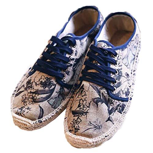 Alpargatas de Mujer Moda Flor Impreso Costura Lona Encaje Bajo Top Lino Tejido Parte Inferior Zapatos Individuales Damas Zapatos Planos Ocasionales