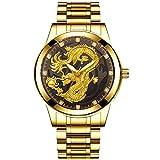Relojes de Pulsera Reloj Impermeable De Acero Inoxidable para Hombres Reloj De Cuarzo con Dragón En Relieve Elegante E