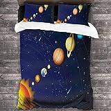 Lovely baby-Z - Juego de sábanas de 3 piezas, diseño de línea de planetas del sistema solar y 2 fundas de almohada de 218 x 177 cm
