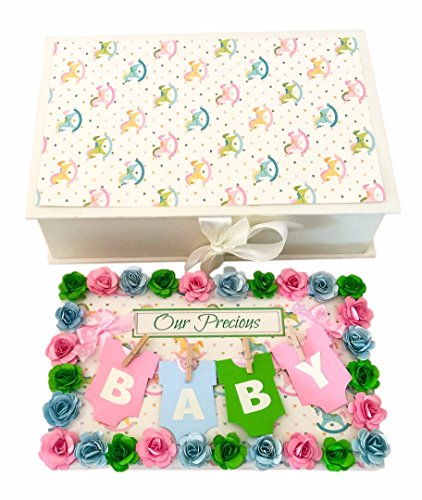 Crack of Dawn Crafts Baby Handmade Photo Album Message Book Rocking Horse Pink, Green, Blue
