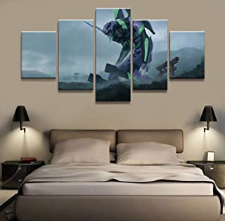 HOPE003 Canvas Painting 5 Framed 5 Piece NEON Genesis Evangelion Anime Poster Wall Pictures for Home Decor Poster Artwork Wall Decor Canvas