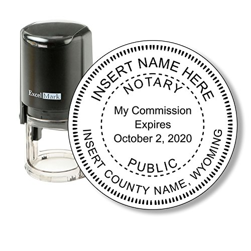 ExcelMark A-43 Self-Inking Round Rubber Notary Stamp - State of Wyoming