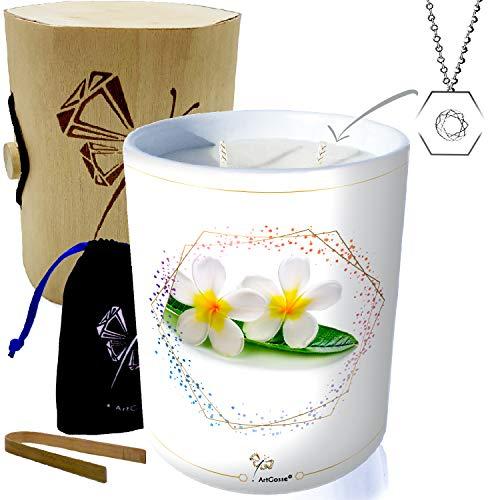 Vela con joya plata adornada con cristales Swarovski® • Vela 2 mechas perfumada Monoi de Tahití • Caja Regalo Sorpresa colgante