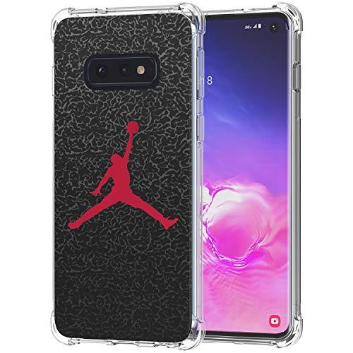 Galaxy S10e Case, Ailiber Basketball Slam Dunk Jump Man AJ Air MJ NBA Sport Red Black Thin Light Shock Absorption Soft TPU Bumper Protective Cover for Samsung Galaxy S10 e Lite 5.8 inch - Basketball