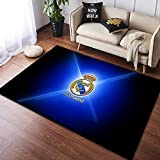 CXJC Decoración de interior Alfombras con una variedad de patrones y estilos, el Real Madrid Club de Fútbol Logo Tapetes, poliéster tela mezclada, rectangular 160 * 100 * 0.6CM (Color : G)