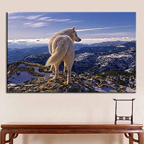 LPHMMD Canvas wall decoration print art painting Animal Landscape Canvas Painting White Lone Wolf Poster Wall Art Painting Modern Living Room Decoration gift